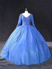 Custom Fit V-neck Long Sleeves Quinceanera Dresses Floor Length Lace and Appliques Blue Tulle