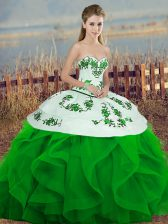Green Tulle Lace Up Sweetheart Sleeveless Floor Length Ball Gown Prom Dress Embroidery and Ruffles and Bowknot