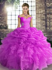 Spectacular Lilac Lace Up 15th Birthday Dress Beading and Ruffles and Pick Ups Sleeveless Floor Length