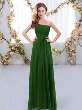 Chiffon Sleeveless Floor Length Dama Dress and Ruching