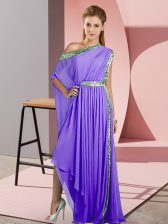Attractive Lavender Empire Chiffon One Shoulder Sleeveless Sequins Asymmetrical Side Zipper Prom Dresses