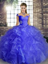 Blue Ball Gowns Beading and Ruffles Sweet 16 Dress Lace Up Organza Sleeveless Floor Length