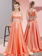 Sleeveless Brush Train Backless Beading Prom Dresses