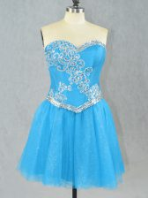 Aqua Blue Sleeveless Tulle Lace Up Prom Dress for Prom and Party