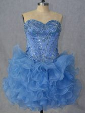 Classical Blue Ball Gowns Sweetheart Sleeveless Organza Mini Length Lace Up Beading and Ruffles Prom Dress