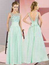 Decent Apple Green Scoop Neckline Beading Dress for Prom Sleeveless Backless
