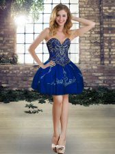 Comfortable Mini Length Ball Gowns Sleeveless Royal Blue Prom Dress Lace Up