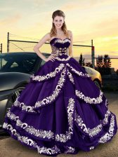 Comfortable Purple Lace Up Ball Gown Prom Dress Embroidery and Ruffled Layers Sleeveless