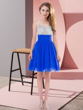 Glorious Royal Blue Sleeveless Mini Length Beading Side Zipper Dama Dress