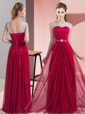Beauteous Beading and Belt Quinceanera Dama Dress Wine Red Lace Up Sleeveless Floor Length