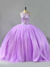 Sleeveless Tulle Floor Length Lace Up Quinceanera Dress in Lavender with Beading