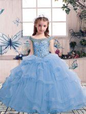 Graceful Floor Length Light Blue Little Girls Pageant Gowns Tulle Sleeveless Beading and Ruffles