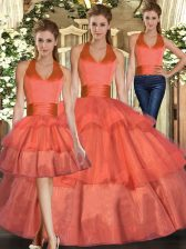 Low Price Orange Organza Lace Up Quince Ball Gowns Sleeveless Floor Length Ruffled Layers