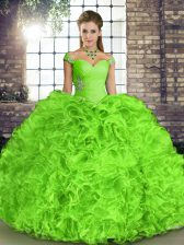 Lace Up Off The Shoulder Beading and Ruffles Quinceanera Dresses Organza Sleeveless