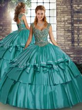 Teal Sleeveless Beading and Ruffled Layers Floor Length Quinceanera Gown