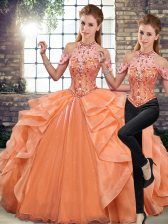 Custom Design Halter Top Sleeveless Lace Up Quince Ball Gowns Orange Organza