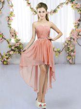 Hot Sale High Low Peach Dama Dress for Quinceanera Chiffon Sleeveless Beading