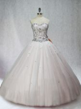 Glittering White Ball Gowns Beading 15th Birthday Dress Lace Up Tulle Sleeveless Floor Length