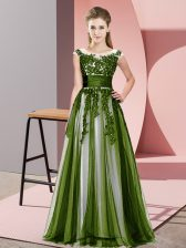 Glorious Empire Quinceanera Dama Dress Olive Green Scoop Tulle Sleeveless Floor Length Zipper