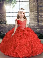 Fancy Red Ball Gowns Beading Evening Gowns Lace Up Organza and Fabric With Rolling Flowers Sleeveless Floor Length
