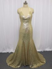 Low Price Champagne Sequined Criss Cross Spaghetti Straps Sleeveless Homecoming Dress Brush Train Sequins