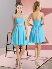 High End Aqua Blue Cap Sleeves Mini Length Beading Lace Up Quinceanera Court of Honor Dress
