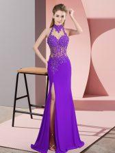Hot Sale Purple Chiffon Backless Halter Top Sleeveless Floor Length Prom Dresses Beading