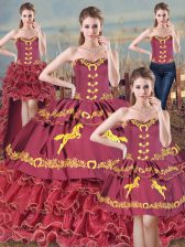 Ideal Burgundy Lace Up Sweet 16 Dresses Embroidery and Ruffles Sleeveless Brush Train
