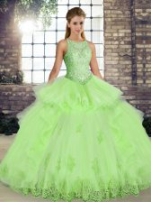 Decent Yellow Green Ball Gowns Tulle Scoop Sleeveless Lace and Embroidery and Ruffles Floor Length Lace Up 15 Quinceanera Dress