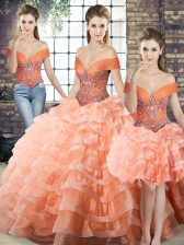 Peach Organza Lace Up Off The Shoulder Sleeveless Quinceanera Dress Brush Train Beading and Ruffled Layers