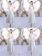 Custom Made Silver Sleeveless Appliques Tea Length Dama Dress for Quinceanera