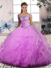 Inexpensive Floor Length Lilac 15 Quinceanera Dress Off The Shoulder Sleeveless Lace Up
