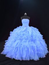 New Arrival Purple 15th Birthday Dress Sweet 16 and Quinceanera with Beading and Ruffles Strapless Sleeveless Lace Up