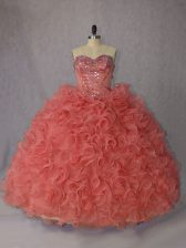 Sophisticated Orange Sleeveless Organza Brush Train Lace Up Sweet 16 Dresses for Sweet 16 and Quinceanera