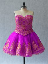 Charming Mini Length Lace Up Homecoming Dress Fuchsia for Prom and Party with Appliques and Embroidery