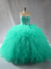 Luxurious Turquoise Lace Up Quinceanera Dress Beading and Ruffles Sleeveless Floor Length