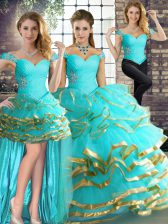 Smart Three Pieces Sweet 16 Dresses Aqua Blue Off The Shoulder Tulle Sleeveless Floor Length Lace Up