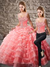 Chic Watermelon Red Lace Up Straps Beading and Ruffled Layers Ball Gown Prom Dress Organza Sleeveless Court Train