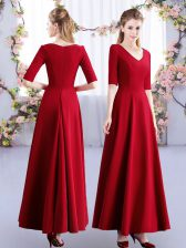 Wine Red Empire Ruching Dama Dress for Quinceanera Zipper Satin Half Sleeves Ankle Length