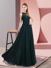 Amazing Green Empire Lace Prom Evening Gown Zipper Chiffon Sleeveless Floor Length