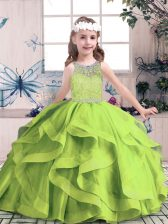 Customized Sleeveless Tulle Floor Length Zipper Little Girl Pageant Gowns in with Beading and Ruffles
