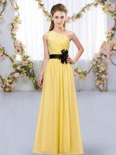 Delicate Floor Length Gold Damas Dress One Shoulder Sleeveless Zipper