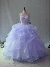 Fantastic Organza Halter Top Sleeveless Backless Beading and Ruffles Quinceanera Gowns in Lavender