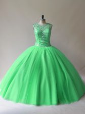Floor Length Green Quinceanera Dresses Scoop Sleeveless Lace Up