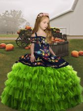Custom Design Olive Green Sleeveless Organza Lace Up Kids Formal Wear for Party and Wedding Party
