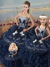 Satin and Organza Sweetheart Sleeveless Lace Up Embroidery and Ruffles Vestidos de Quinceanera in Navy Blue