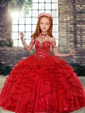 Stunning Sleeveless Beading Lace Up Little Girl Pageant Gowns