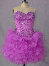 Ball Gowns Prom Dress Lilac Sweetheart Organza Sleeveless Mini Length Lace Up