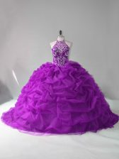 Luxurious Purple Sleeveless Organza Court Train Lace Up Quinceanera Dress for Sweet 16 and Quinceanera