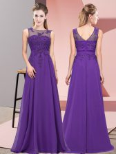 Attractive Purple Empire Scoop Sleeveless Chiffon Floor Length Zipper Beading and Appliques Quinceanera Court of Honor Dress